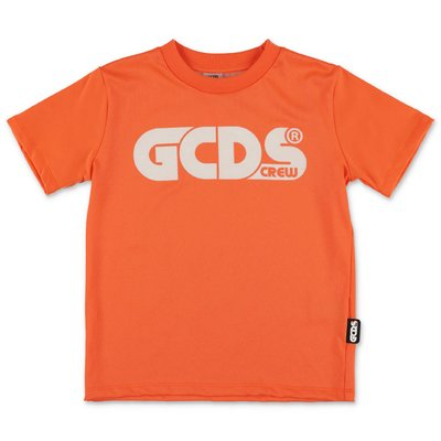 GCDS fluorescent orange cotton blend t-shirt