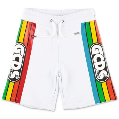 GCDS white cotton sweat shorts