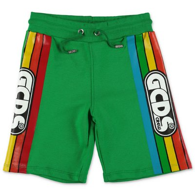 GCDS green cotton sweat shorts