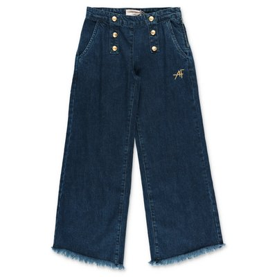 Alberta Ferretti blue stretch cotton denim wide jeans