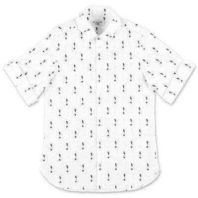 Neil Barrett camicia bianca in popeline di cotone