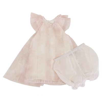 Pink tulle elegant dress with culottes