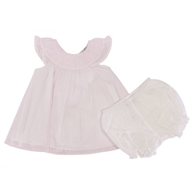 Powder pink cotton muslin dress with white coulottes