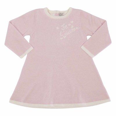 Abito rosa in maglia di cotone e cashmere con dettaglio logo