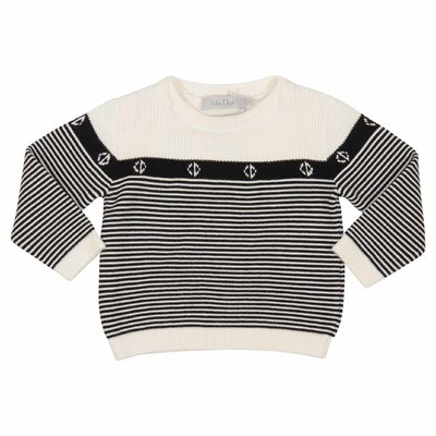 Black and white stripes cotton jumper
