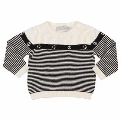 Pullover a righe bianche e nere in cotone