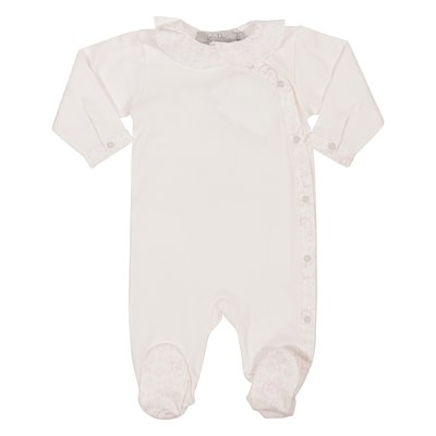 Powder pink cotton jersey romper