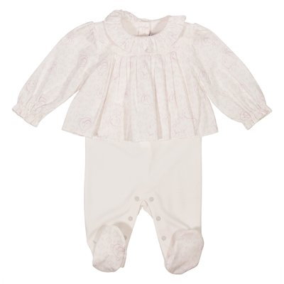 Pink cotton jersey layered effect romper