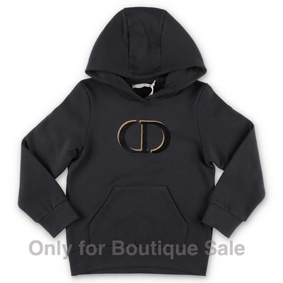 Baby Dior black logo detail cotton hoodie