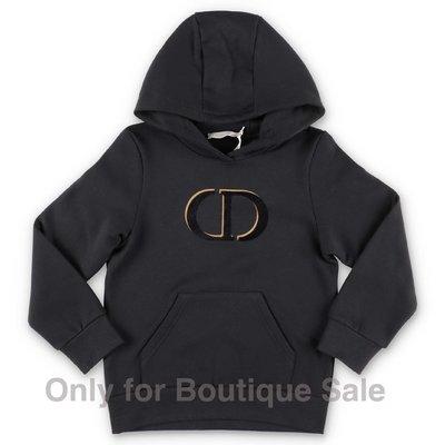 Baby Dior felpa nera in cotone con logo e cappuccio