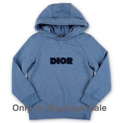 Baby Dior felpa azzurra in cotone con cappuccio