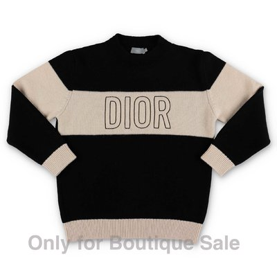 Baby Dior black & beige logo detail wool knit jumper