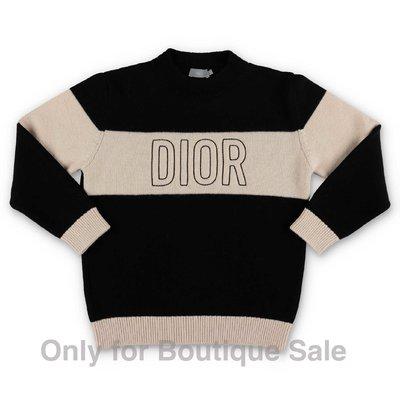 Baby Dior pullover nero e beige in maglia di lana con logo