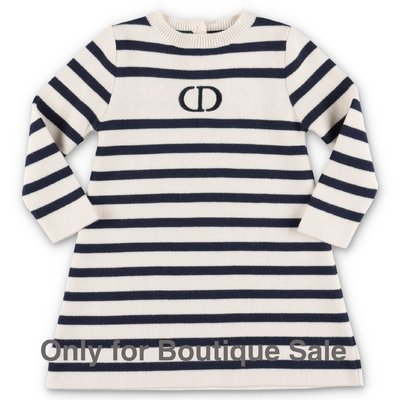 Baby Dior white & blue striped cotton & cashmere knit dress