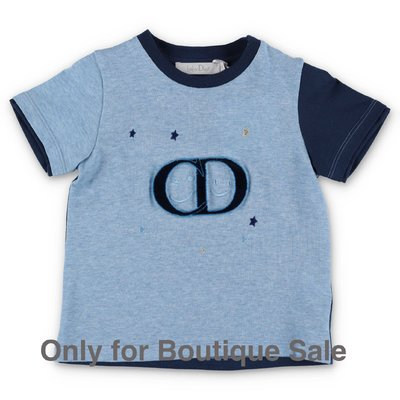 Baby Dior blue & sky blue cotton jersey t-shirt