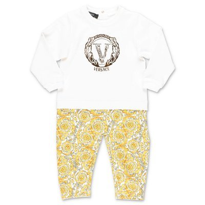 YOUNG VERSACE contrasting panels cotton jersey romper