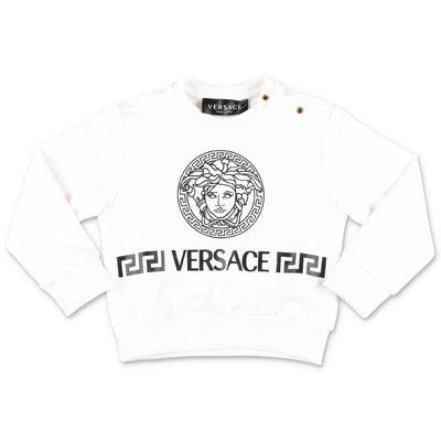 YOUNG VERSACE felpa bianca in jersey di cotone