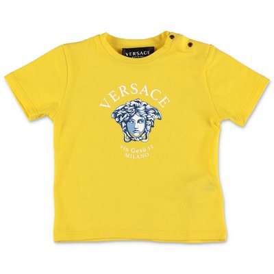 YOUNG VERSACE t-shirt gialla in jersey di cotone