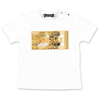 YOUNG VERSACE t-shirt bianca in jersey di cotone con logo 90's