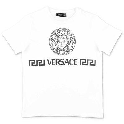 YOUNG VERSACE t-shirt bianca in jersey di cotone