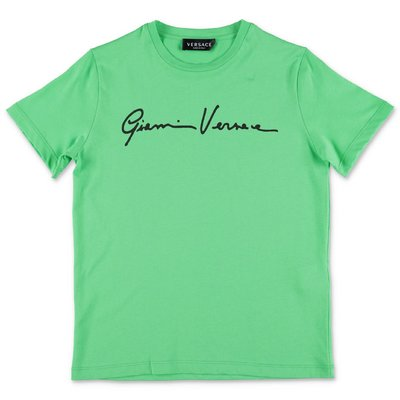 YOUNG VERSACE t-shirt verde in jersey di cotone