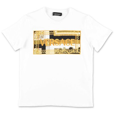 YOUNG VERSACE white 90's logo cotton jersey t-shirt