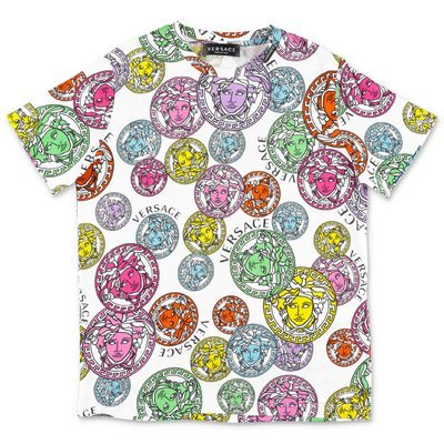 YOUNG VERSACE white multicolor Medusa cotton jersey t-shirt
