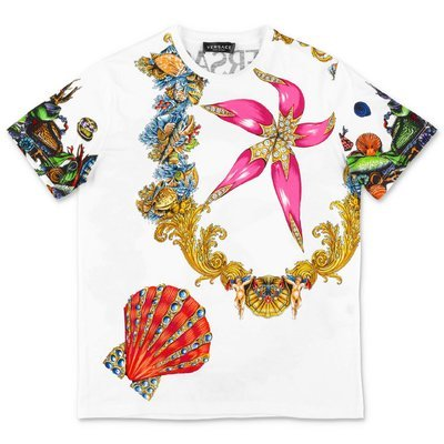 YOUNG VERSACE white multicolor print cotton jersey t-shirt