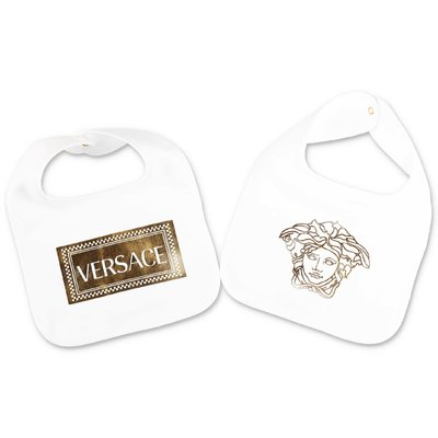 YOUNG VERSACE white cotton jersey baby bib set