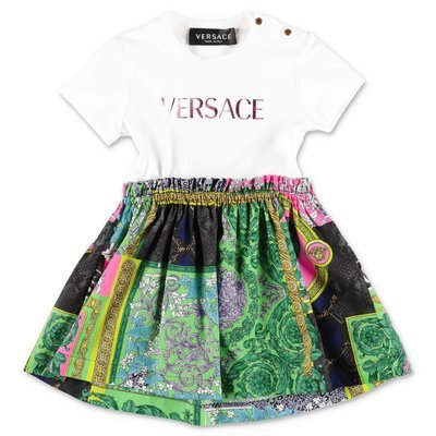 YOUNG VERSACE contrasting panels cotton dress