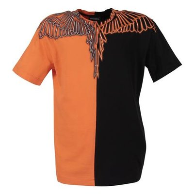 T-shirt nera e arancio Wings in jersey di cotone