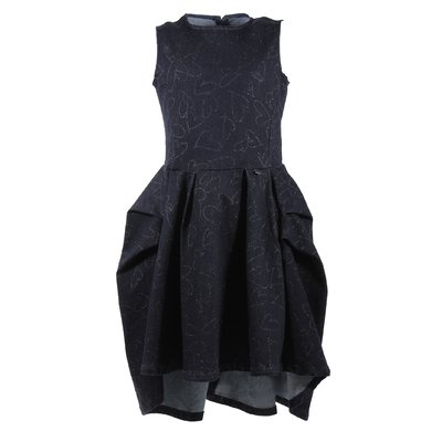 Deep blue cotton denim knee-length swing dress