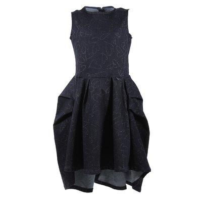 Deep blue cotton denim knee-length swing dress