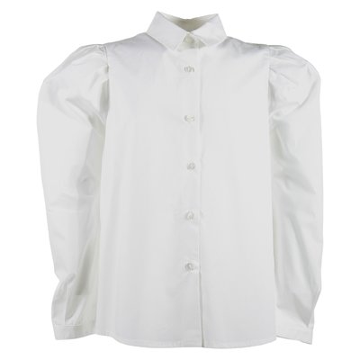 White pleated detail cotton poplin shirt
