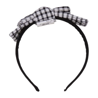 Black and white checkered cotton headband