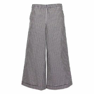 Pantaloni svasati stampa vichy in cotone
