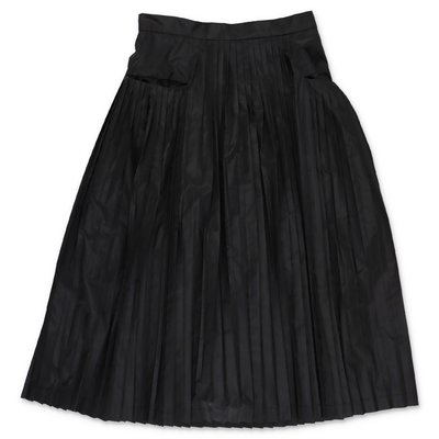 Simonetta black techno fabric pleated midi skirt