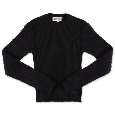 Simonetta black pure virgin wool knit jumper