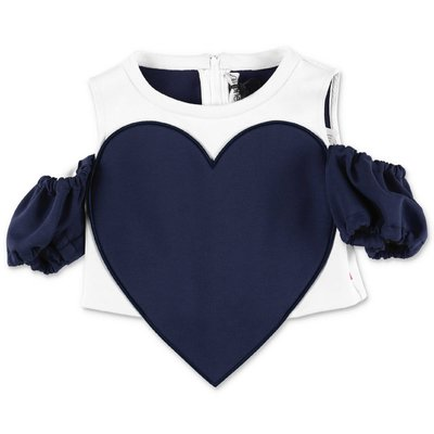SIMONETTA white stretch jersey top with heart
