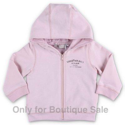 Baby Dior felpa rosa in cotone con cappuccio