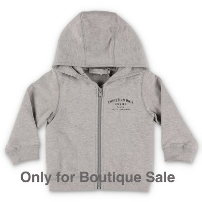 Baby Dior felpa grigio melange in cotone con cappuccio