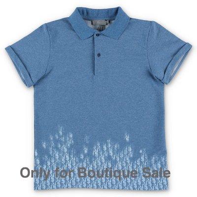 Baby Dior polo blu in piquet di cotone