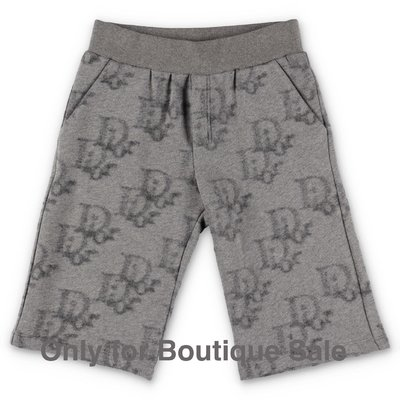 Baby Dior shorts grigi in cotone e lana