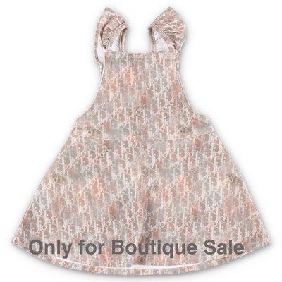 Baby Dior abito marrone in denim di cotone stretch