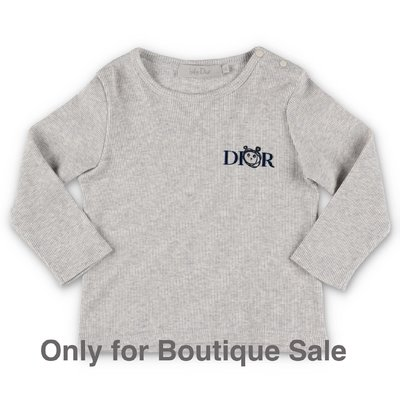 Baby Dior melange grey cotton jersey t-shirt
