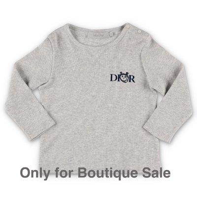 Baby Dior t-shirt grigio melange in jersey di cotone