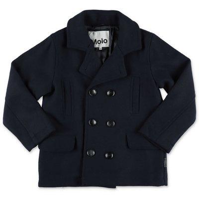 MOLO cappotto Horatio blu navy in panno misto lana
