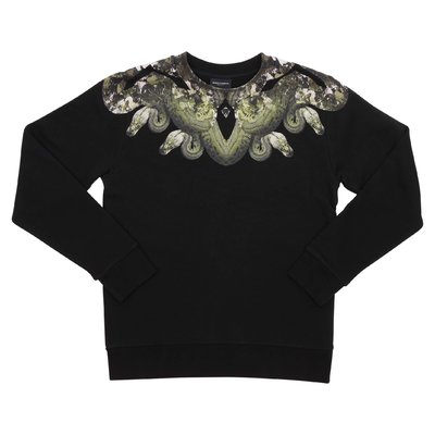 Marcelo Burlon black cotton ''Snake'' sweatshirt