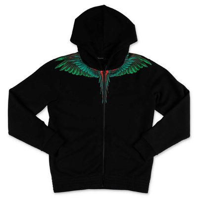 Marcelo Burlon black ''Wings'' cotton sweatshirt hoodie