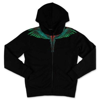 Marcelo Burlon black ''Wings'' cotton sweatshirt hoodie